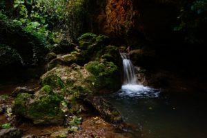 cascada musgos sobre rocas y poza en las chorreras valdepeñas de jaen
